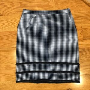 NWOT Banana Republic Navy gingham pencil skirt
